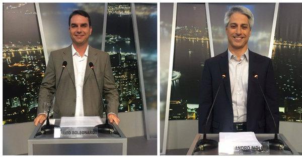 "Jair Bolsonaro xinga Alessandro Molon em intervalo do debate: ""Só ..."