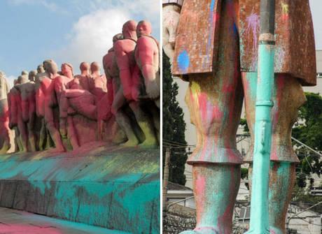 Monumentos são cobertos com tinta colorida em São Paulo