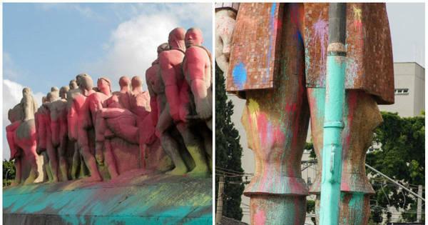 Monumentos são cobertos com tinta colorida em SP. Veja - Fotos ...