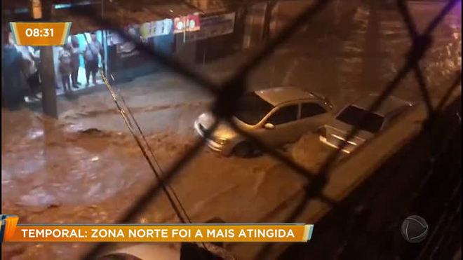 Zona norte do Rio foi região mais atingida por temporal no domingo (17)
