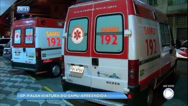 Falsa ambulância do SAMU é apreendida pela polícia