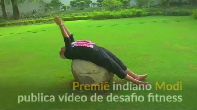 Premiê indiano publica vídeo de desafio fitness
