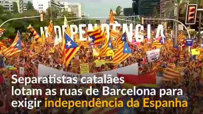 Protesto separatista em Barcelona pede independência da Catalunha