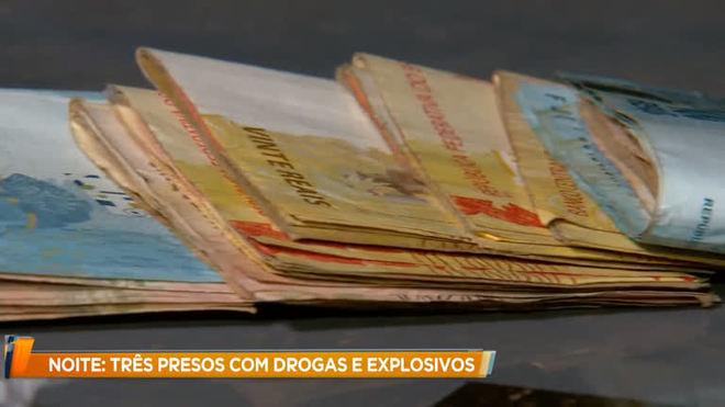 Trio é preso com drogas, explosivos e R$ 10 mil em Nova Lima