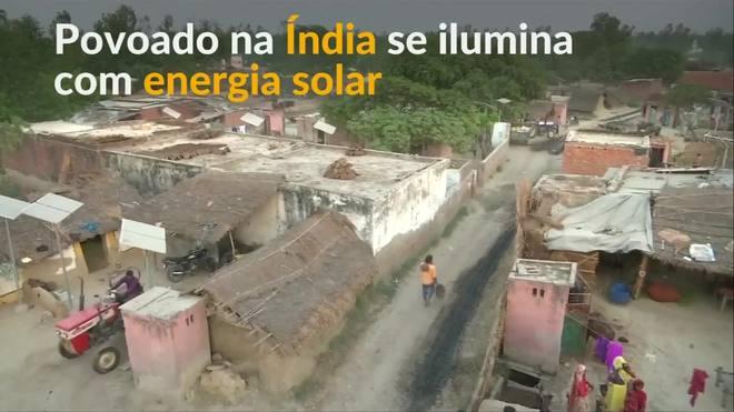Sem eletricidade, povoado indiano instala painéis solares