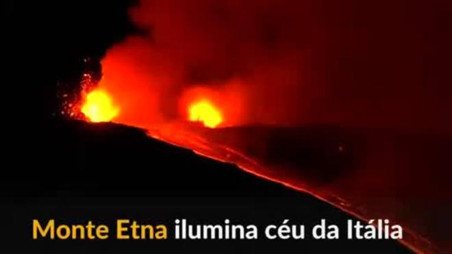 Erupção do Monte Etna ilumina céu da Itália