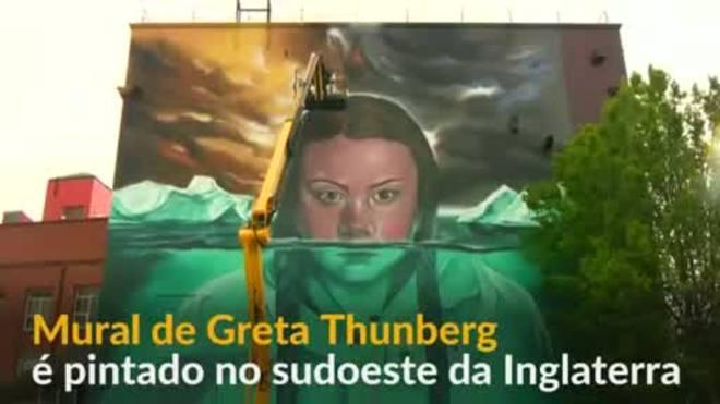 Jovem sueca ativista pelo clima ganha mural no Reino Unido