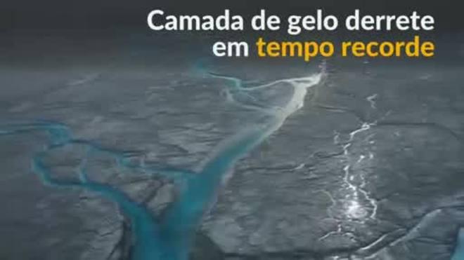 Mais de 10 bilhões de toneladas de gelo derretem na Groenlândia