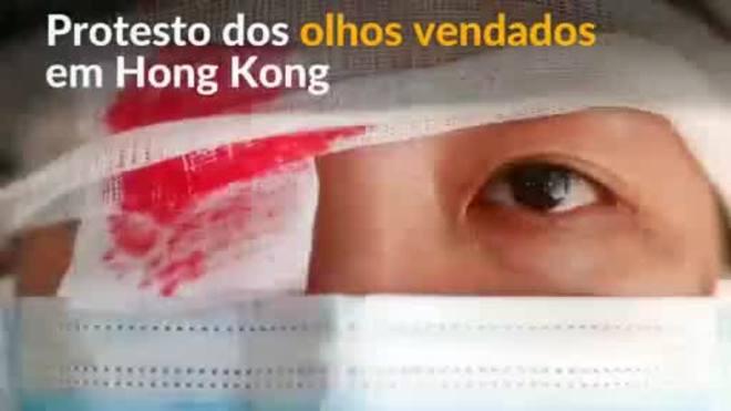 Hong Kong: pessoas usam tapa-olhos ensanguentadas em protesto