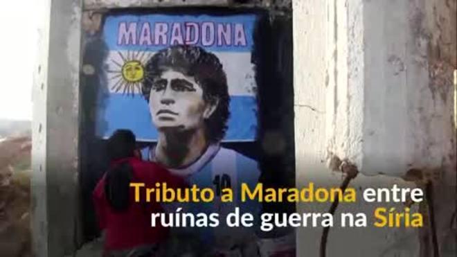 Artista sírio transforma ruína de guerra em tributo a Maradona