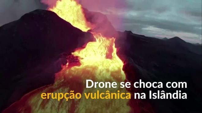 Drone se choca com erupção vulcânica na Islândia