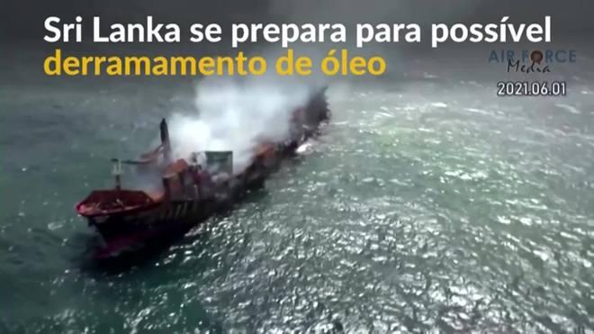 Sri Lanka se prepara para vazamento de combustível de navio