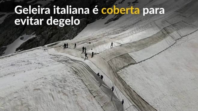 Geleira italiana é coberta para evitar degelo