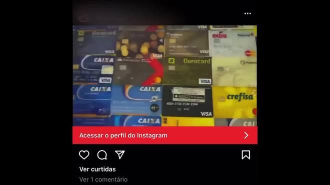 Golpista vende cartão de crédito de terceiros em anúncio no Instagram