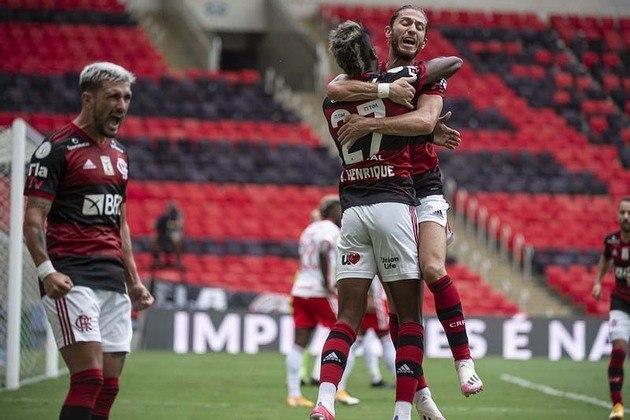 1º colocado – Flamengo (71 pontos/37 jogos): 68.4% de chances de ser campeão; 100% de chances de Libertadores (G6); 0% de chances de rebaixamento.