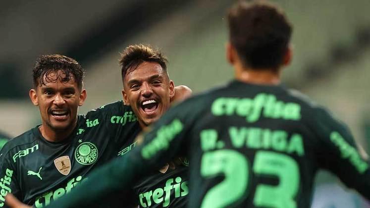 1º colocado – Palmeiras (25 pontos) – 11 jogos / 29.1% de chances de título; 84.8% para vaga na Libertadores (G6); 0.078% de chance de rebaixamento.