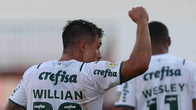 1º colocado – Palmeiras (28 pontos) – 12 jogos / 37% de chances de título; 91.6% para vaga na Libertadores (G6); 0.020% de chances de rebaixamento.