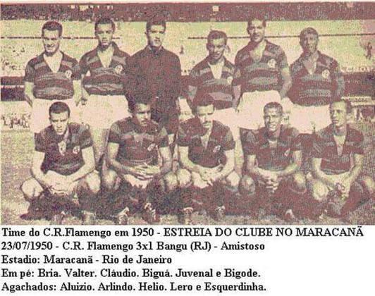 1. Flamengo 3x1 Bangu - 23/7/50 - A estreia oficial do Flamengo no estádio.