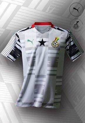 1- GANA 2020: A seleção africana foi destaque no lançamento dos uniformes para essa temporada. A nova camisa 1 de Gana, lançada na última segunda-feira, foi inspirada na história do país, incluindo desenhos de tribos nativas ao longo do design. O uniforme principal é branco com detalhes pretos.