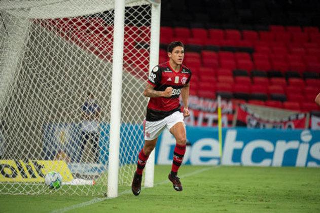 10º lugar: Pedro - Atacante - Flamengo - 23 anos - Valor de mercado segundo o site Transfermarkt: 12 milhões de euros (aproximadamente R$ 77,23 milhões)