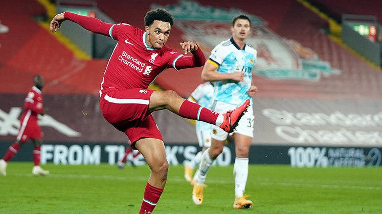 10º lugar - Trent Alexander-Arnold - Pais: Inglaterra - Idade: 22 anos - Posição: lateral-direita - Clube: Liverpool - Valor de acordo com a consultoria KPMG em maio de 2021: 110 milhões de euros (aproximadamente R$ 703,55 milhões)