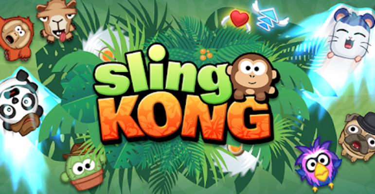 """10 – Sling Kong: """"Arremesse, quique e balance seu Kong para alcançar a glória, mas cuidado com todos os tipos de armadilhas e obstáculos ardilosos. Suba, suba, cada vez mais, até que não tenha mais aonde subir, ou então, veja o seu fim hilário! Junte-se a Chimp, Pig, Jellyfish e mais de 140 personagens insanos e variados enquanto desafia seus amigos a se tornarem o melhor arremessador de Kongs do pedaço."""""""
