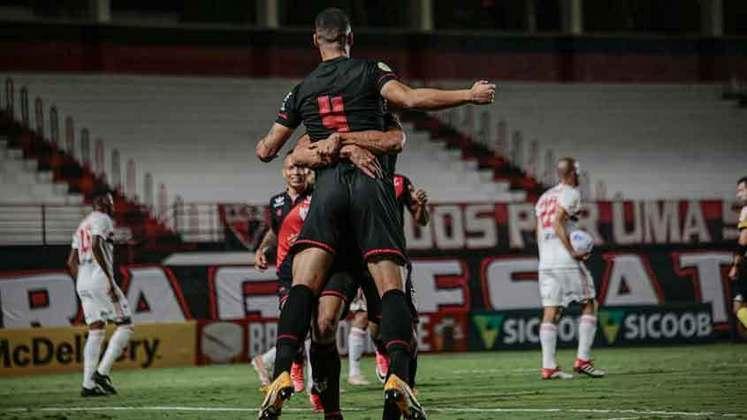 11º colocado – Atlético-GO (15 pontos) – 11 jogos / 0.97% de chances de título; 22.5% para vaga na Libertadores (G6); 9.7% de chances de rebaixamento.