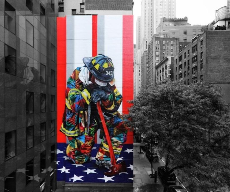 Brasileiro Kobra inaugura grafite em NY lembrando 11 de setembro