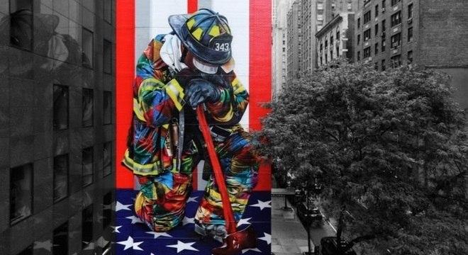 Obra de artista brasileiro homenageia equipes de resgate das Torres Gêmeas