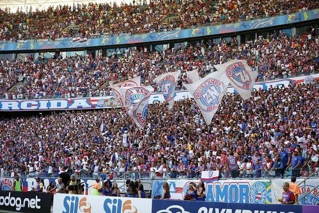 12- Bahia - LANCE!/Ibope 2014: 3,4 milhões de torcedores / Datafolha 2019: 1,8 milhão