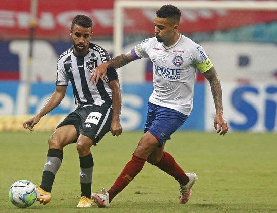 13º colocado – Bahia (28 pontos) – 23 jogos / 0,031% de chances de título; 5,5% para vaga na Libertadores (G6); 13,3% de chance de rebaixamento.