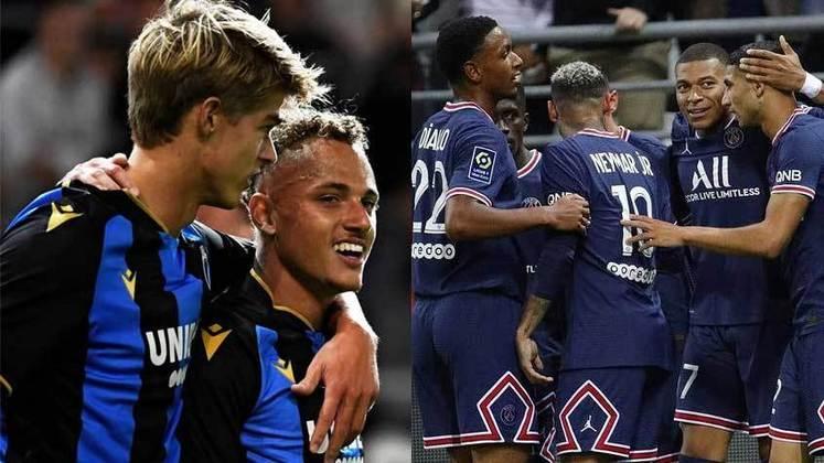 15/09 (quarta-feira) - 16h - CLUB BRUGGE X PSG - Atual bicampeão belga, o Brugge ocupa a primeira posição da atual edição do campeonato nacional com 14 pontos: são quatro vitórias, dois empates e uma derrota. Já o PSG, líder da Ligue 1, vem de uma temporada decepcionante em que o clube caiu na semi da Champions e foi vice da liga francesa. Os reforços da equipe para 2021/2022 são de primeira linha: Donnarumma, Hakimi, Sergio Ramos, Wijnaldum, Nuno Mendes e Messi.