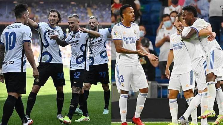 15/09 (quarta-feira) - 16h - INTER DE MILÃO X REAL MADRID - Atual campeã italiana, a Inter teve baixas importantes: as saídas de Lukaku para o Chelsea, de Hakimi para o PSG e a do técnico Antonio Conte. O clube está em quarto na Serie A, com duas vitórias, um empate e sete pontos conquistados. O Real Madrid tinha o sonho de contratar Mbappé, porém o PSG recusou as propostas. Os Merengues tiveram as saídas da dupla Sergio Ramos e Varane e contrataram o jovem Camavinga e o lateral/zagueiro Alaba. A equipe é líder da La Liga junto com Atlético de Madrid e Valencia, com dez pontos em quatro jogos.
