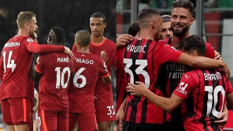 15/09 (quarta-feira) - 16h - LIVERPOOL x MILAN - Um super clássico europeu com 13 títulos de Champions League em campo. O Liverpool mantém sua base de anos, com Salah, Firmino, Mané e companhia, e atualmente divide a liderança da Premier League com Chelsea e Manchester United, com dez pontos. O Milan ficou em terceiro na última temporada do campeonato italiano, retorna à Champions após sete anos e, assim como o Liverpool, divide a liderança da liga nacional (com Roma e Napoli): são três vitórias em três jogos e nove pontos ao todo.