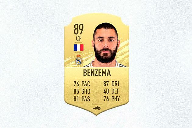 16- Karim Benzema (Real Madrid) - 89 de Overall - Benzema segue aproveitando a saída de CR7 para marcar cada vez mais gols pelo Real Madrid, por isso é um dos melhores atacantes do novo FIFA