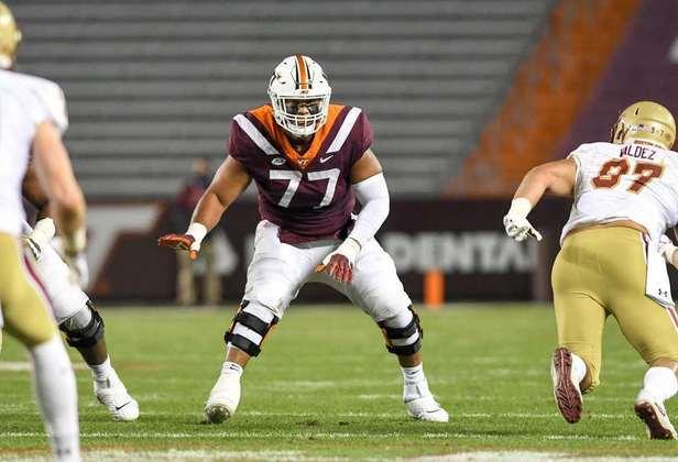 18ª Miami Dolphins - Christian Darrisaw (OT - Virginia Tech): Um cenário perfeito para os Dolphins. Tua Tagovailoa ganha um WR1 e um tackle para proteger seu lado cego.