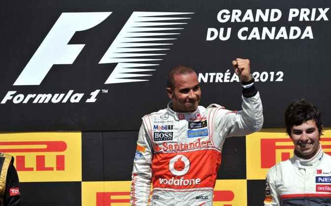 18 - No palco da primeira vitória na F1, Lewis Hamilton repetiu a dose em 2012