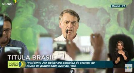 Bolsonaro participou da cerimônia de entrega de títulos de propriedades rurais em Marabá, no Pará