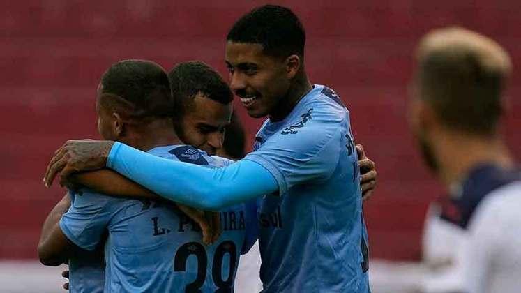 19º colocado – Grêmio (7 pontos) – 12 jogos / 0.007% de chances de título; 0.91% para vaga na Libertadores (G6); 63.6% de chances de rebaixamento.