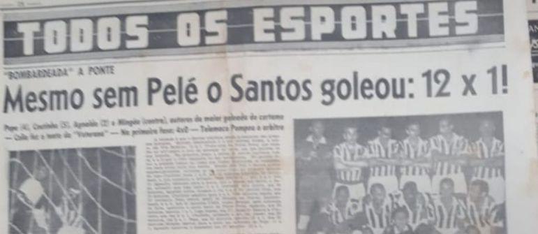 1959 - Santos 12 x 1 Ponte Preta - A maior goleada da história do Peixe. Pelo Paulistão, Coutinho (5), Pepe (4), Agnaldo (2) e Mingão (contra), fizeram para o Alvinegro, na Vila Belmiro.