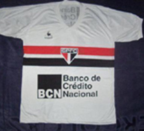 1983 - BCN (Banco Nacional de Crédito) - O patrocínio do extinto banco brasileiro foi usado no Campeonato Paulista de 1983.