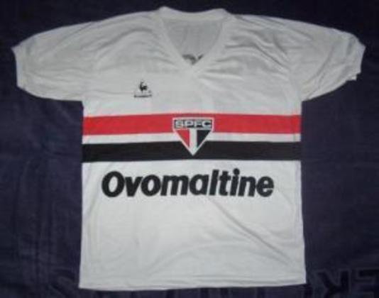 1984 - Ovomaltine - Outra marca que apareceu no espaço da camisa são-paulina foi o achocolatado Ovomaltine, também no Campeonato Paulista.