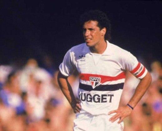 1986 a 1987 - Nugget -  No final de 86 e começo de 87, o São Paulo estampou a marca da Nugget em seu uniforme.