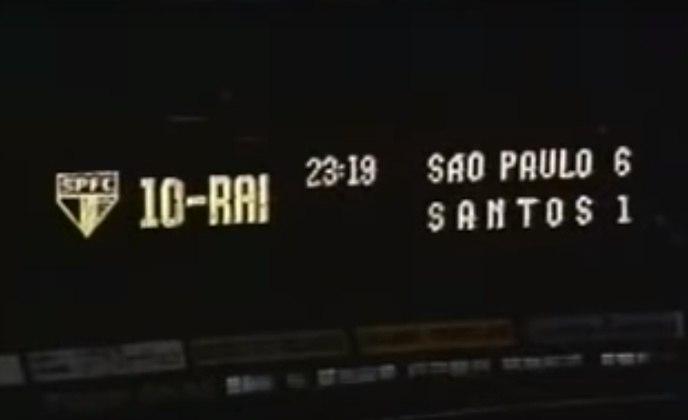 1993 - São Paulo 6 x 1 Santos - No Morumbi, pelo Paulista de 1993, Raí deu um show em sua última partida pelo São Paulo antes de se apresentar ao PSG. Marcou um golaço e participou dos outros cinco, anotados por Palhinha (3), Cafu e Pintado. O gol do Santos foi de Cuca.