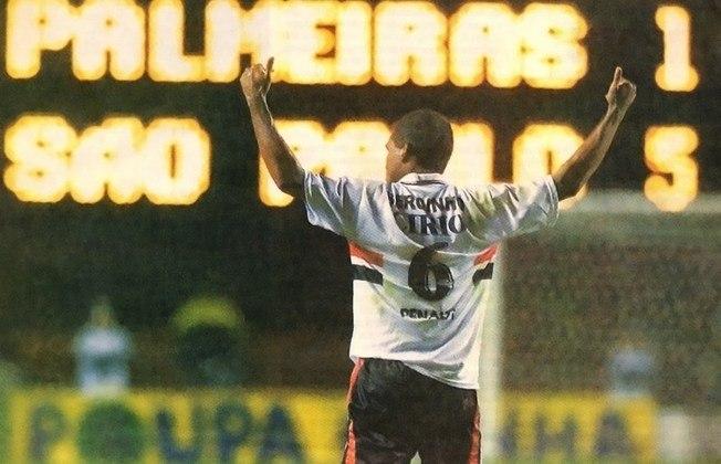 1999 - São Paulo 5 x 1 Palmeiras - O Tricolor de Carpegiani não tomou conhecimento do Palmeiras de Felipão, que disputaria o jogo de volta contra o Corinthians, pelas quartas de final da Libertadores, dias depois. A vitória pelo Paulistão de 1999 veio com gols de Serginho (3), Marcelinho Paraíba e Edu. Arce descontou.