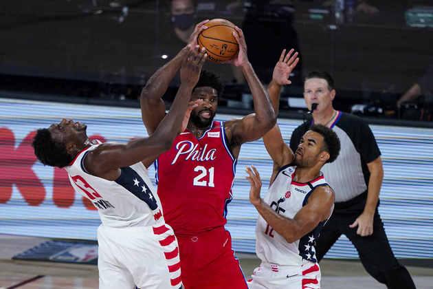 2- Joel Embiid (Philadelphia 76ers): 30 pontos, 11 rebotes, três roubadas. O pivô segue sendo a principal opção ofensiva do Sixers em Orlando. Embiid, que na rodada de abertura havia feito 41 pontos e 21 rebotes na derrota para o Indiana Pacers, foi o grande nome da equipe no triunfo sobre o Washington Wizards