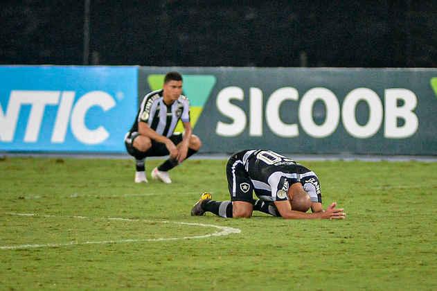 20º colocado – Botafogo (20 pontos/25 jogos): 0% de chances de ser campeão; 0% de chances de Libertadores (G6); 92,6% de chances de rebaixamento.