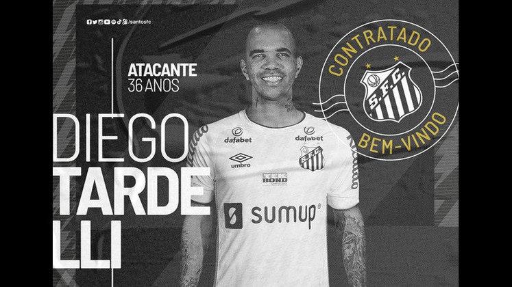 20º - Diego Tardelli - Posição: Atacante - Clube: Santos - Idade: 36 anos - Valor de mercado segundo o Transfermarkt: 900 mil euros (aproximadamente R$ 5,57 milhões) - Contrato até: 31/12/2021