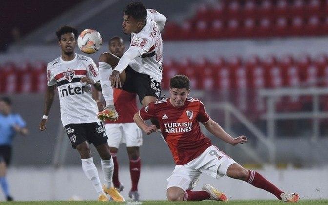 20/09/2020 - River Plate 2 x 1 São Paulo (Libertadores) - Pela Libertadores, derrota que eliminou a equipe. Álvarez fez os dois dos argentinos e Diego Costa descontou.