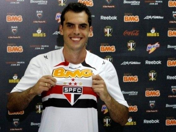 2012 - Naquele ano, o São Paulo levou 29 gols em 29 rodadas do Brasileiro. A defesa era formada muitas vezes por Ceni; Piris, Paulo Miranda, Rhodolfo (foto) e Bruno Cortez.